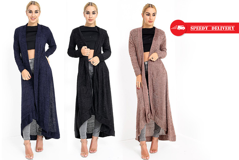 Maxi Towel-Feel Cardigan – 3 Colours & Sizes 8-12! for £12.00