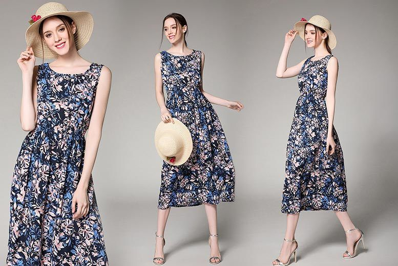 Sleeveless Floral Over-the-Knee Dress – Sizes 10-14! for £11