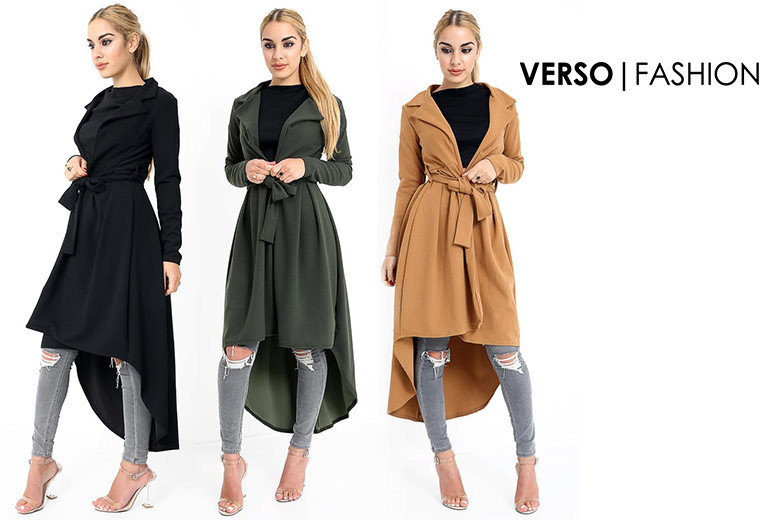 Women's Drop Hem Trench Coat – 3 Colours & Sizes 8-14! for £16.00