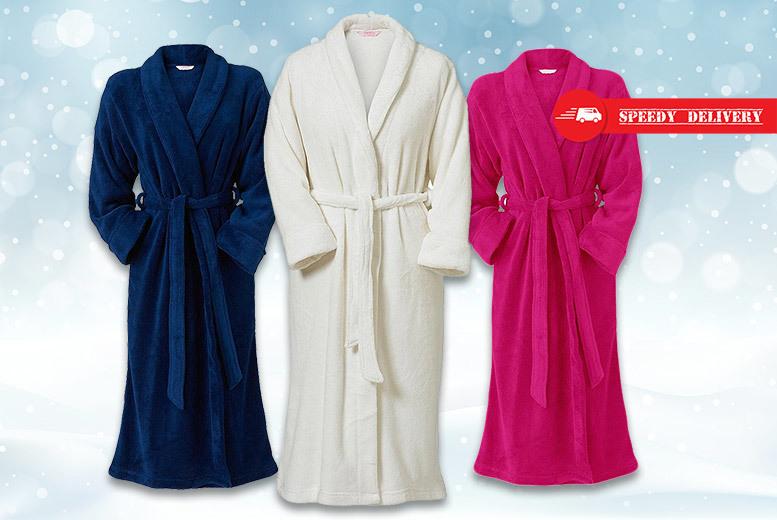 Ladies Polar Fleece Dressing Gown – 3 Colours! for £12