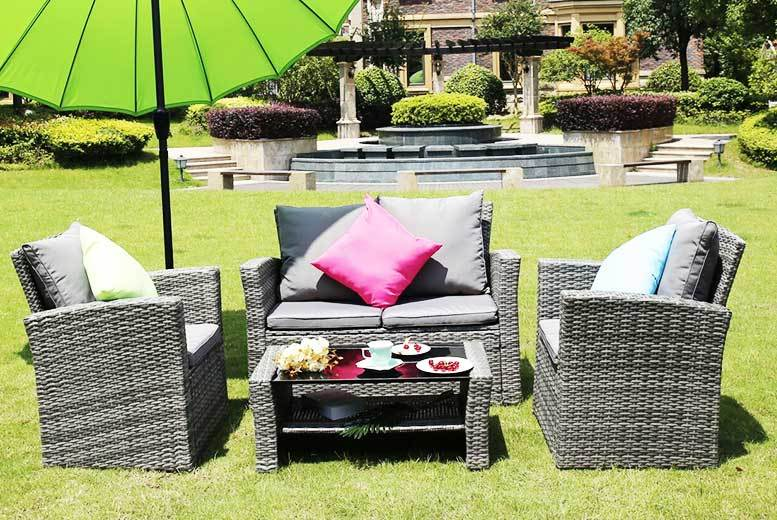 4 Seater Rattan Garden Furniture Set U2013 3 Colours! Enjoy The Sunshine With A  Four Seater Rattan Garden Furniture Set! Includes A Two Seater Sofa And Two  ...
