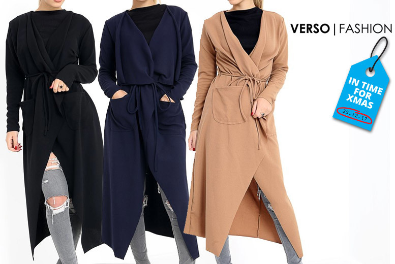 Long-Sleeve Waterfall Jacket – 3 Colours & Sizes 8-14! for £11.00
