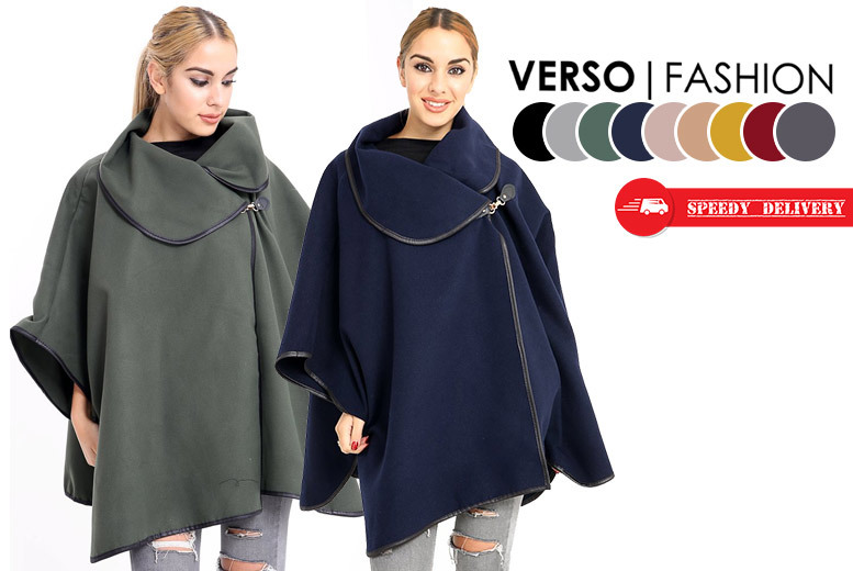 Oversized Buckle-Collar Cape Coat – 9 Colours! for £15.00