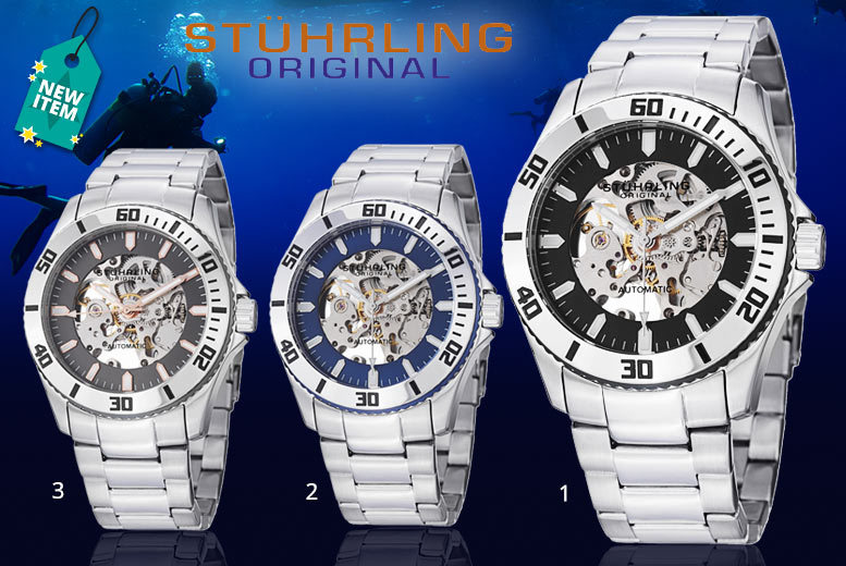 Men's Stührling 'Regatta Antilles' Divers' Watch - 3 Designs!