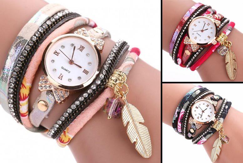 'Grace' Feather Wrap Watch - 3 Colours!