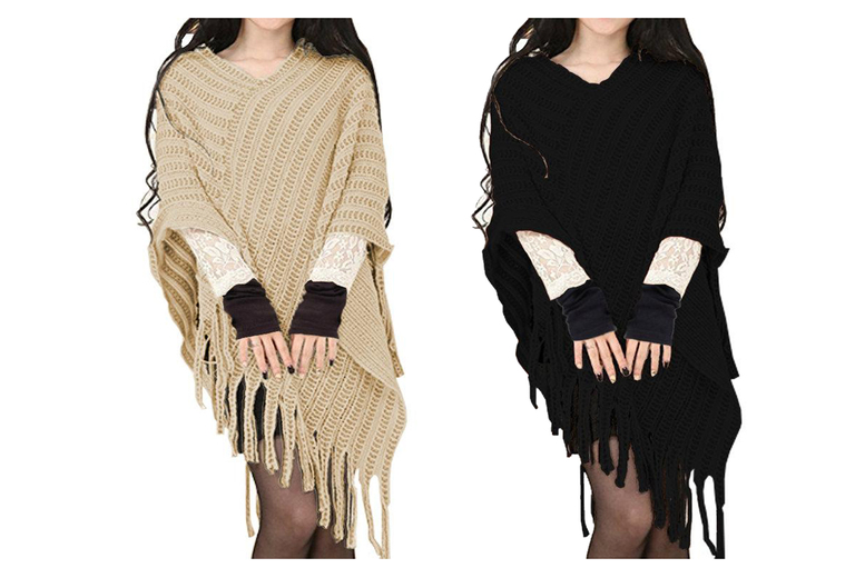Cable Knitted Poncho & Gloves Set – 4 Colours! for £9.99