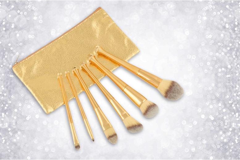 6pc Gold Brush Set & Case for £9.99