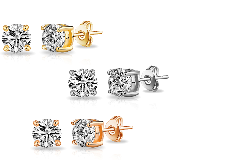 £7 instead of £89.99 for three pairs of round stud earrings made with Swarovski Elements from Vivid Jewels - save 92%