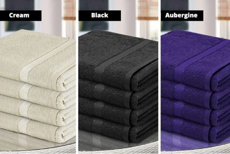 4 Egyptian Cotton Bath Towels – 12 Colours! for £14