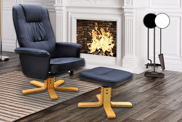 Vida Artificial Leather TV Armchair With Foot Stool  ...