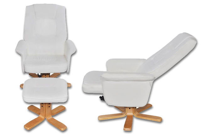 ... Vida Artificial Leather TV Armchair With Foot Stool