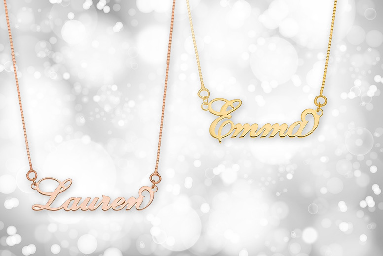 Rose or Yellow Gold-Plated Sterling Silver Personalised Name Necklace for £12