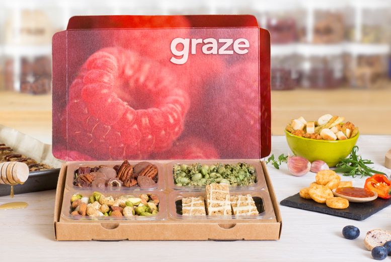 £3 instead of £13.97 for your first four snack boxes when you sign up to graze - brighten up your snack time save 79%