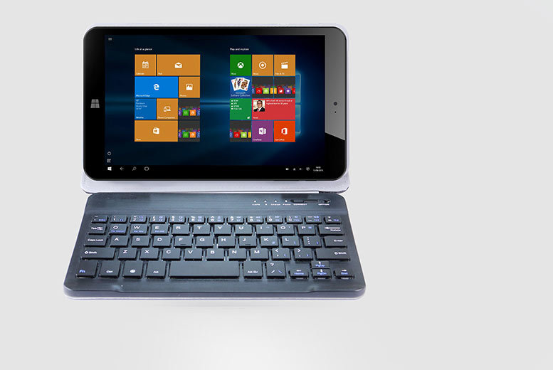 "£89.99 instead of £268.99 (from Hedoo) for an 8"" Windows 10 Intel quad core tablet 32GB with a faux leather case and detachable keyboard - save 67%"