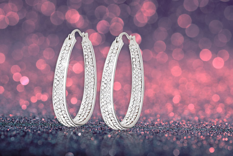 £6 instead of £68 (from Evoked Design) for a pair of inside-out hoop earrings made with Swarovski Elements - save a sparkling 91%