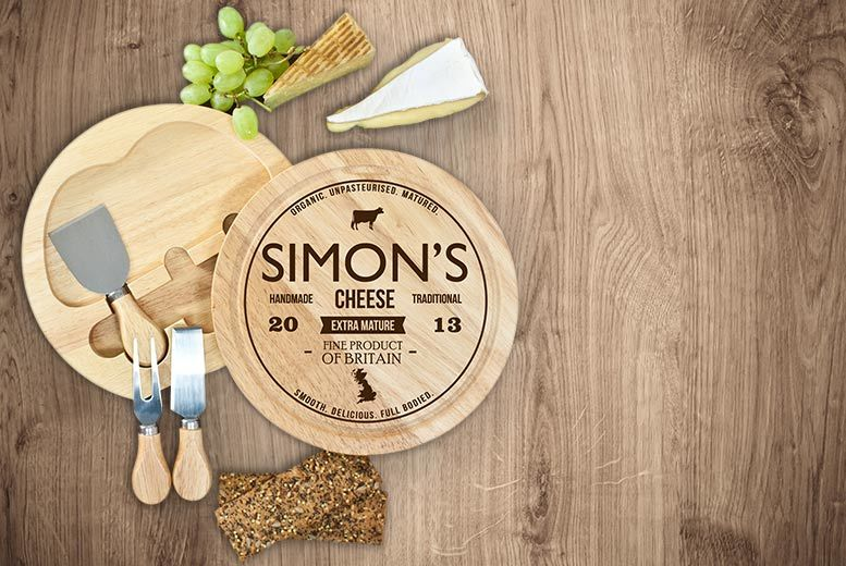 £15 instead of £40 (from Treat Republic) for a personalised cheese board and three wooden-handled cheese knives - save 62%