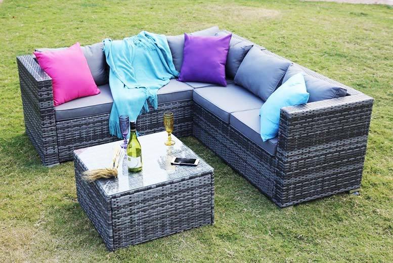 5-Seater Yakoe Monaco Rattan Corner Sofa Set for £299