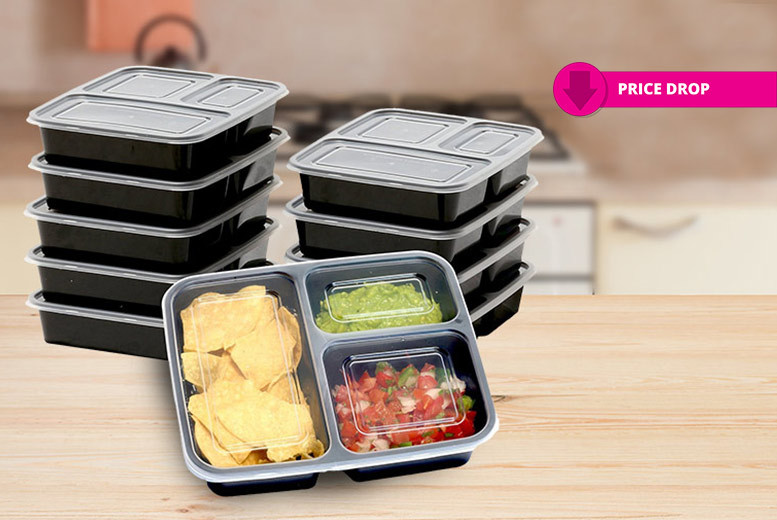 1, 2 or 3-Compartment Food Containers – 10 or 20! from £7.99
