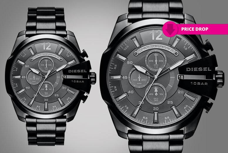 Men's Black Diesel Mega-Chief Watch