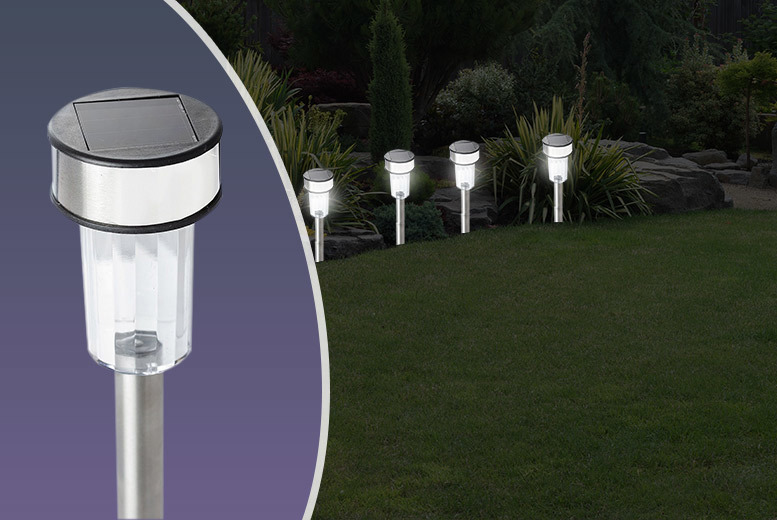 £7.99 instead of £37.99 for 10 stainless steel solar post garden lights - shine and save 79%