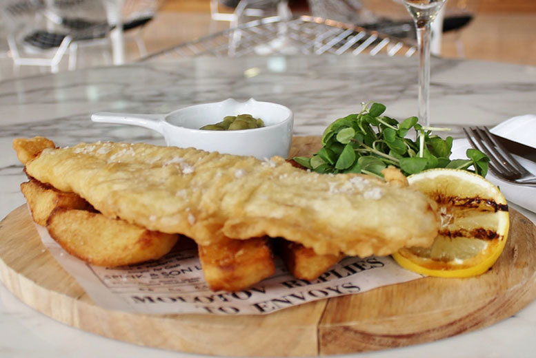£19 instead of £42 for posh fish and chips for two with a glass of Prosecco each at Hilton Manchester Deansgate - save 55%