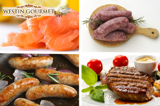 £29 instead of £62.19 for a 'Barbecue Bangers, Steak & Royal Salmon Gourmet Hamper' from Westin Gourmet – save a meaty 53%