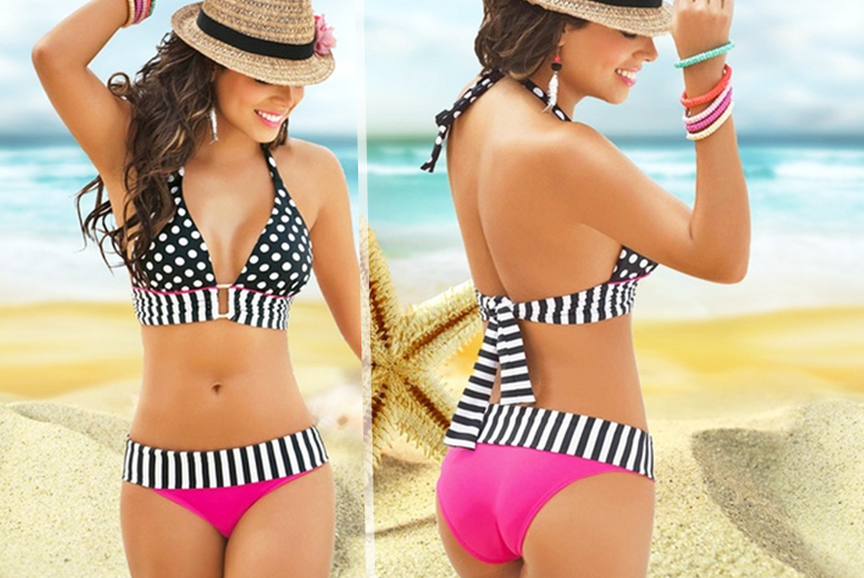 £8 instead of £39 (from Boni Caro) for a pink and black spot and stripe halterneck bikini set - get ready for summer and save 79%