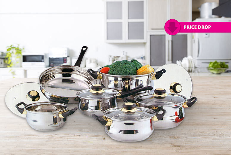 12pc Stainless Steel Saucepan Set from £19.99