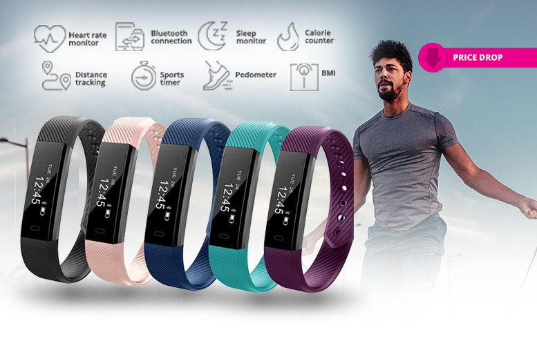 Touchscreen Bluetooth Fitness Tracker & Optional Heart Rate Function – 5 Colours! from £12.99