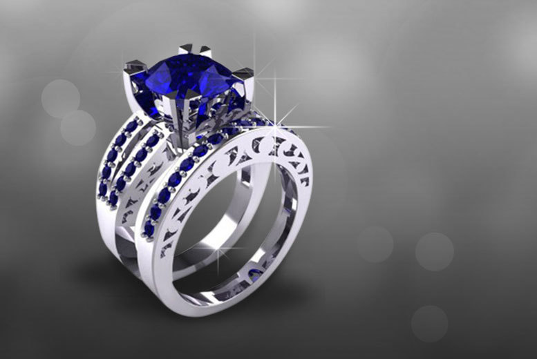 blue sapphire double ring