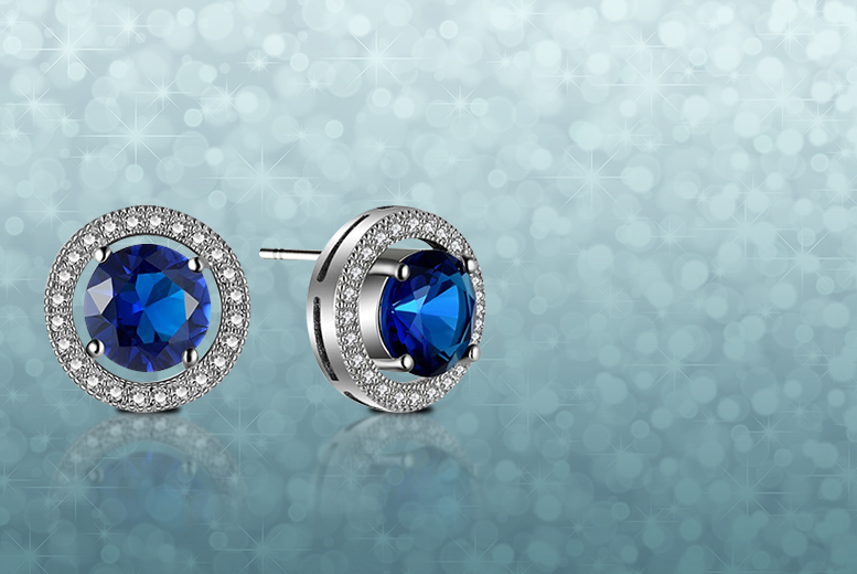 £29.99 instead of £299 for a pair of blue sapphire 10k white gold filled earrings - save 90%