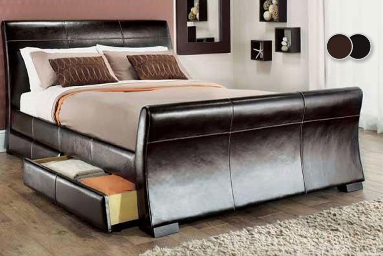 Venetian Storage Sleigh Bed with Optional Memory or Spring Mattress