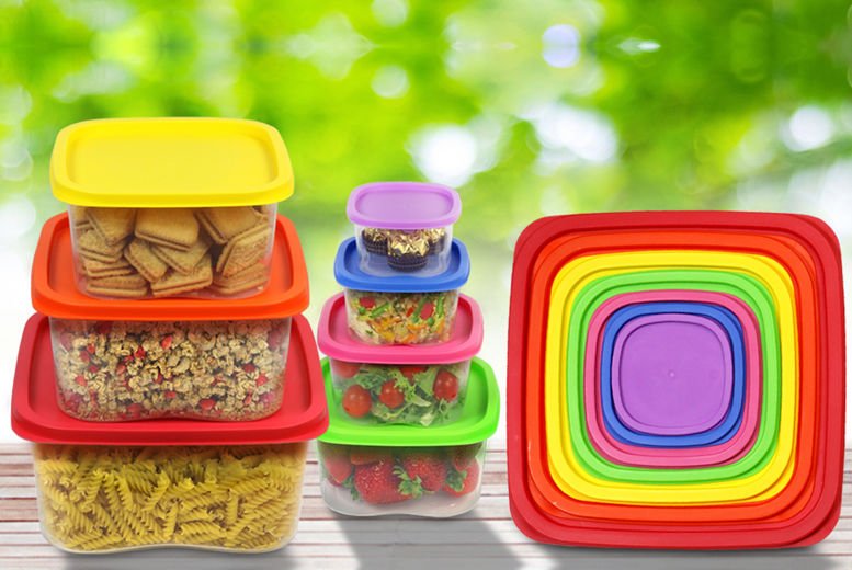 7pc Stackable Air Tight Rainbow Food Containers for £5.99