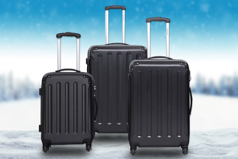 3 Lightweight Hard Shell Suitcase Set – 2 Colours! for £79