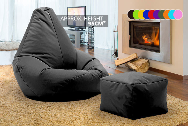Highback Beanbag with Matching Footstool – 11 Colours! for £28