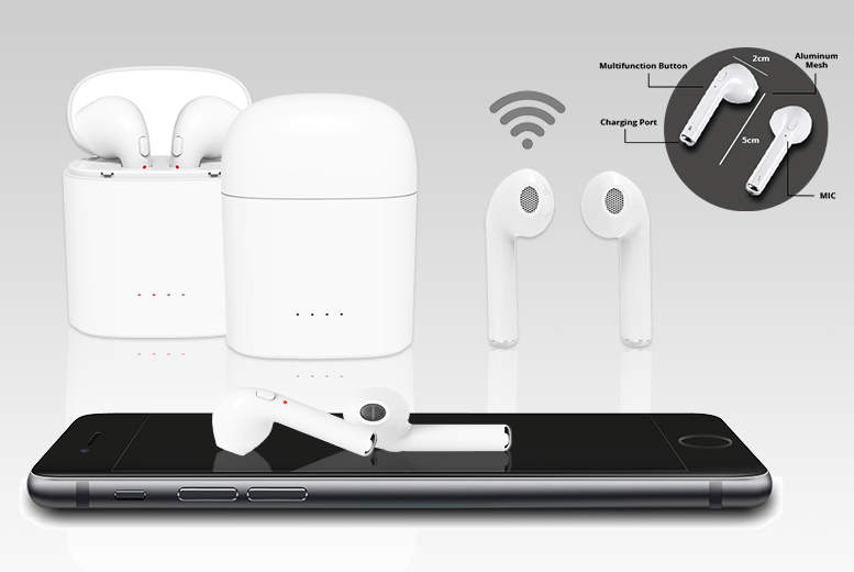 Apple Compatible Wireless Earbuds with Charging Case – 2 Colours! for £29
