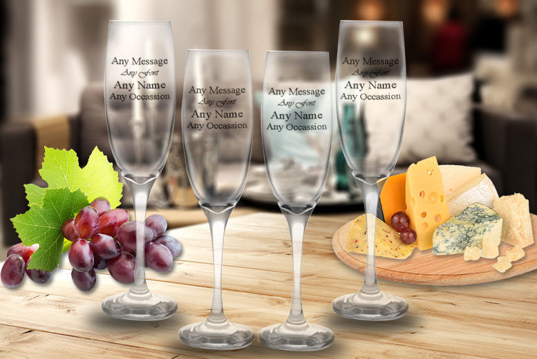 Set of Personalised Engraved Prosecco Glasses – 1, 2, 4 or 8! from £5.99