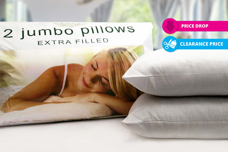 2, 4 or 8 Extra-Filled Jumbo Pillows from £5.99