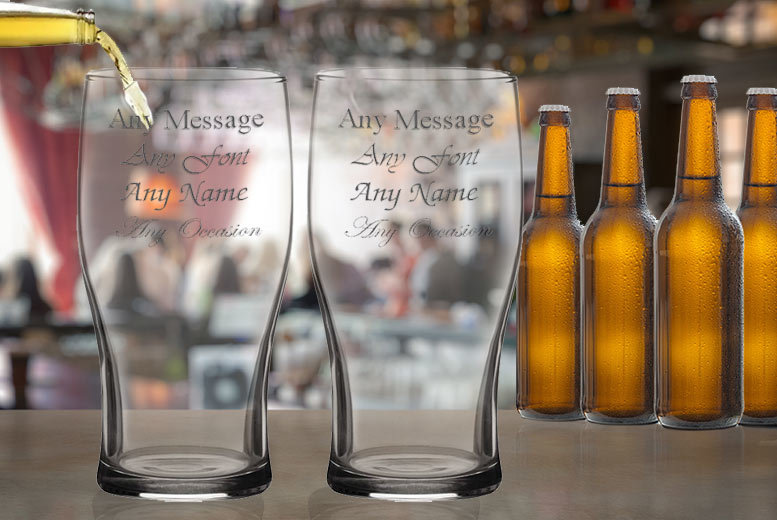 2, 4 or 8 Personalised Engraved Beer Glasses from £10.99