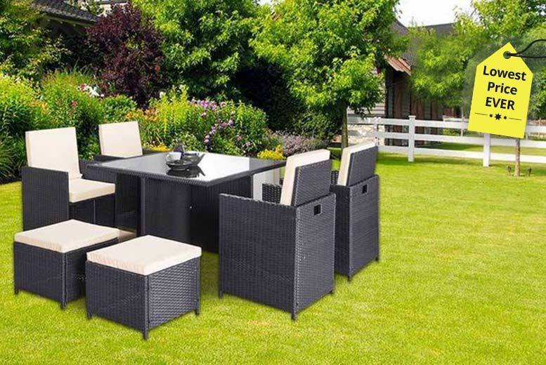 Napoli 9pc Rattan Cube Set – Black or Brown! for £249