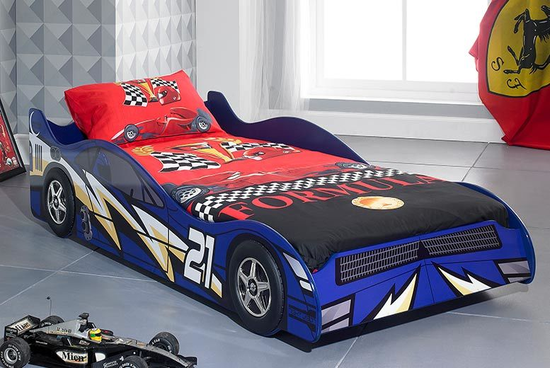 Lightning Bolt Racing Car Bed with Optional Mattress - 2 Colours!