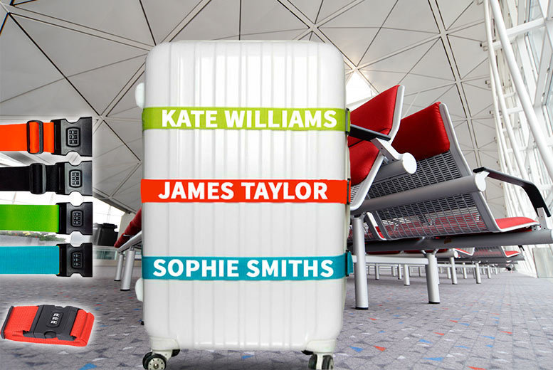 Personalised Luggage 1 or 2 Personalised Luggage Straps – 5 Colours! from £5.99