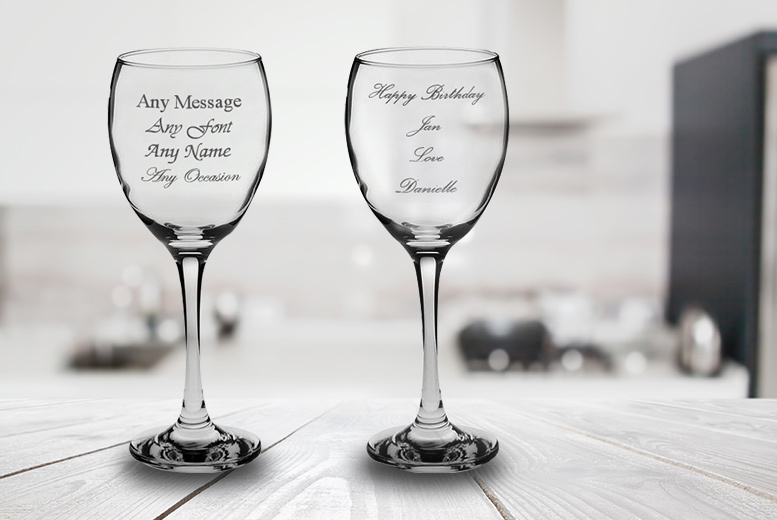 2, 4, or 8 Individually Personalised Engraved Wine Glasses from £10.99