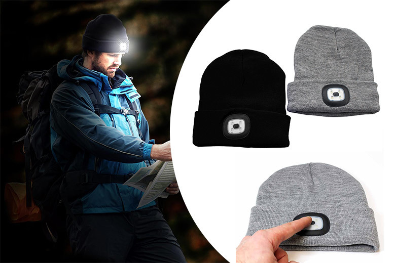 Knitted Beanie LED Headlamp – 2 Colours! for £6.99
