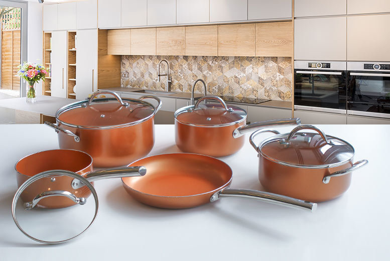 9 or 11pc Non-Stick Induction Ceramic Copper-Effect Pan Set from £49