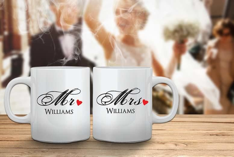 2 Personalised MR & MRS Mugs for £9.99