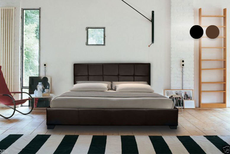 Italian Faux Leather Bed w/ Optional Mattress – 2 Colours & 4 Sizes! from £39