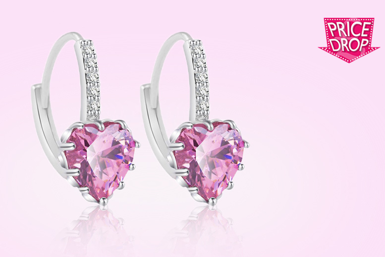 Pink Heart Crystal Sapphire Earrings for £8
