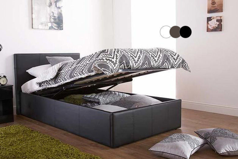 Black Gas Lift Ottoman Storage Bed with Memory Foam Mattress from £109