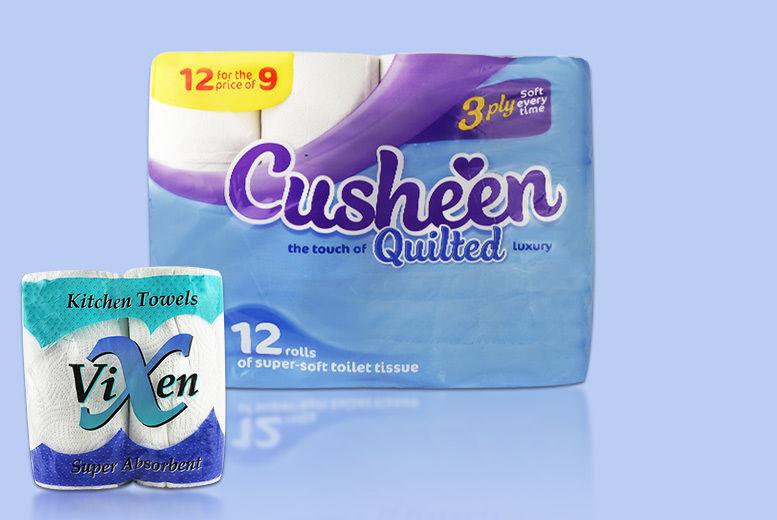 60 or 120 Cusheen Toilet Rolls & 24 Vixen Kitchen Rolls from £19.99